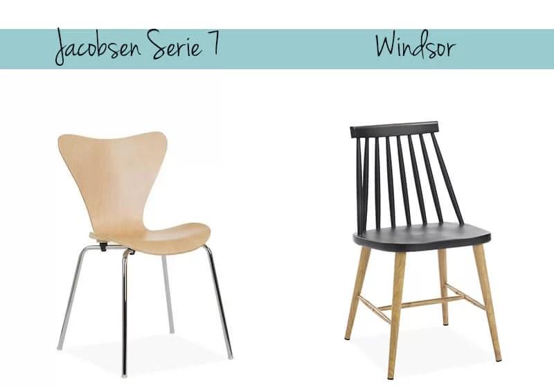 Silla serie 7 de Arne Jacobsen y Silla Windsor