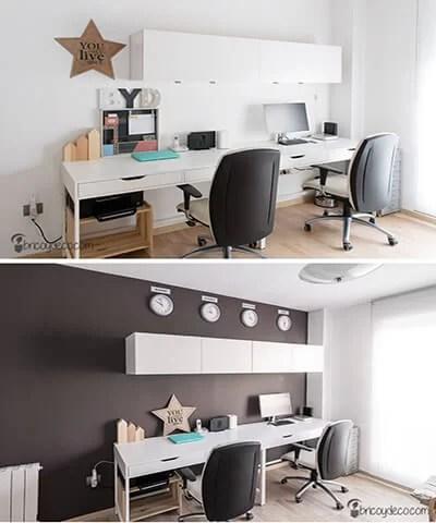 antes y después de renovar el despacho con pintura