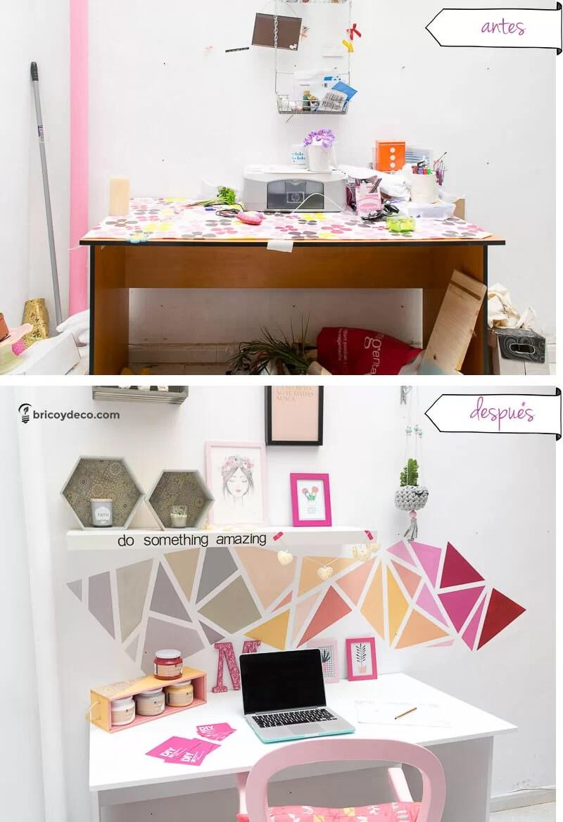 antes y después de renovar con pintura un espacio de trabajo