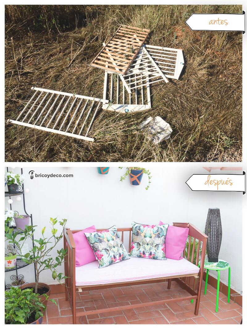 upcycling: de cuna a sofá para terraza