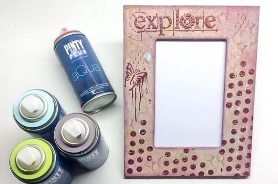 marcos fotos DIY decorado con pintura en spray