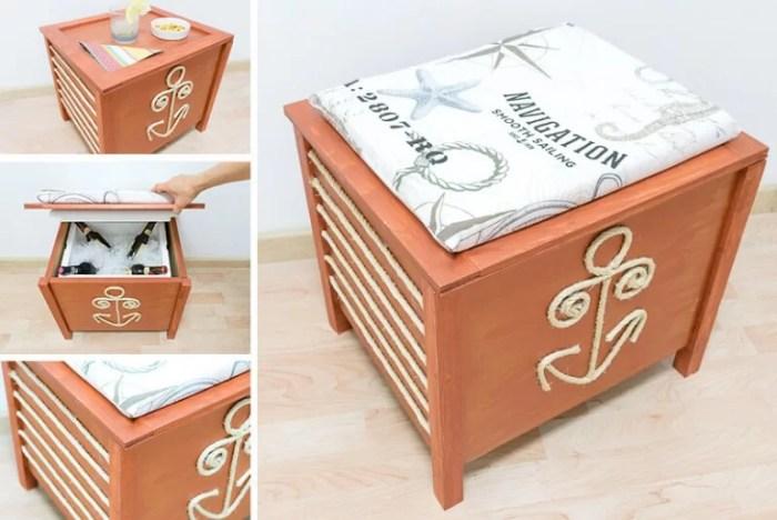 mesa, nevera y asiento en uno