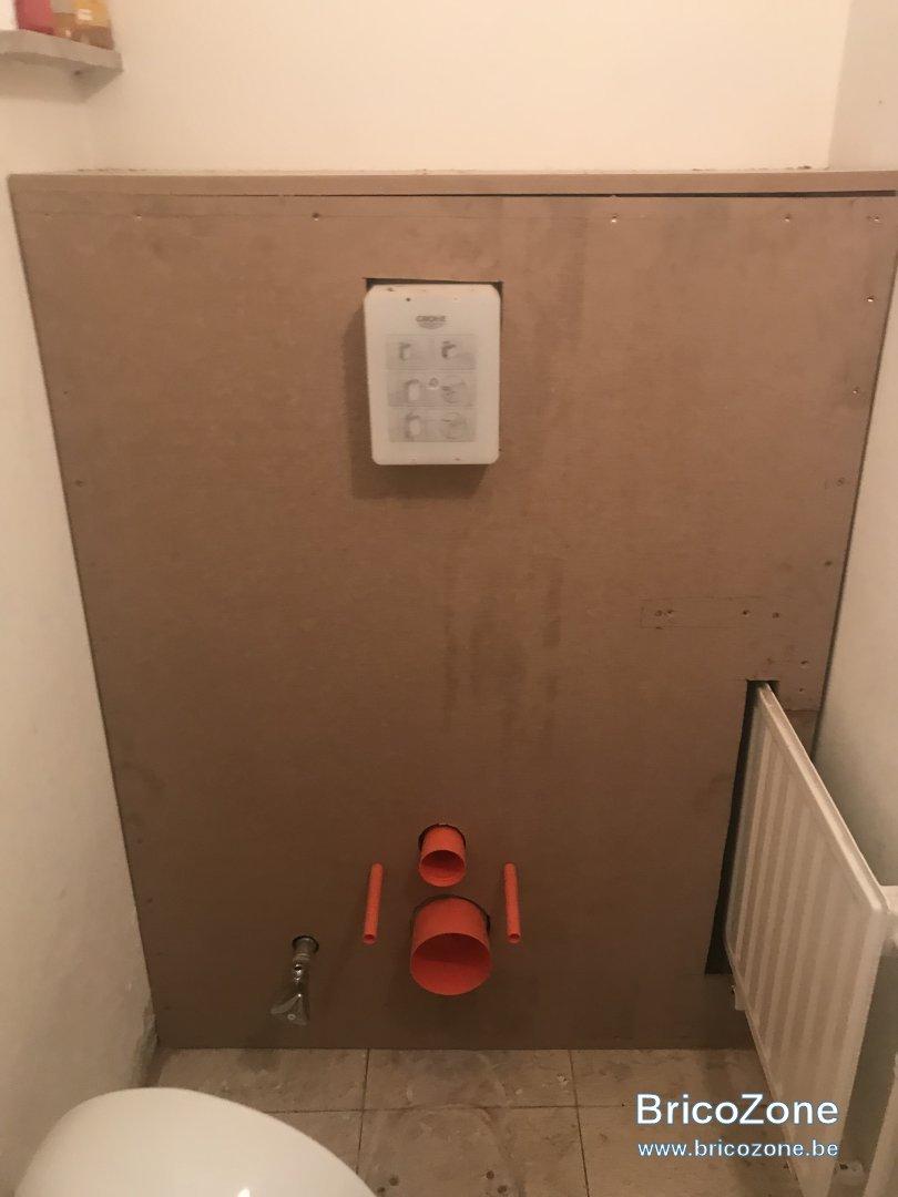 carreler sur un bati mdf wc suspendu