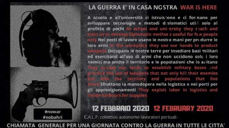 ¡Guerra a la Guerra! Apelación de los trabajadores portuales de Génova