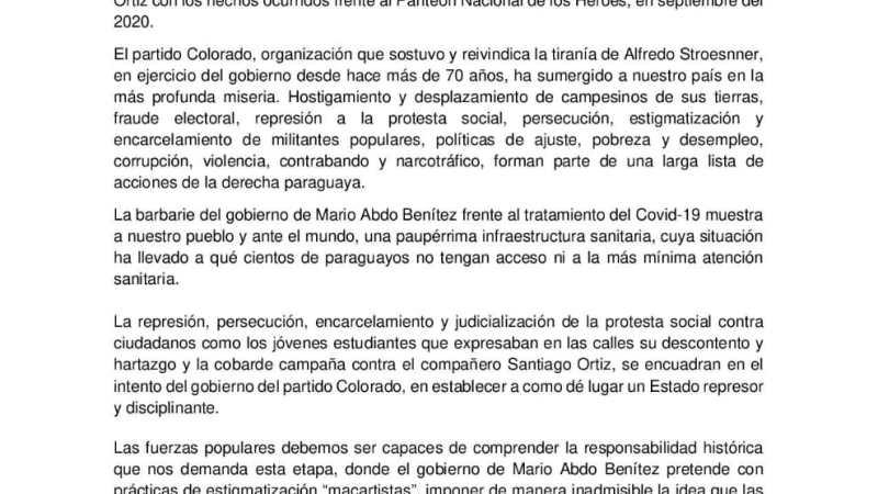 Solidaridad con Santiago Ortiz y los estudiantes detenidos en Paraguay