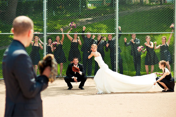 baseball wedding photo