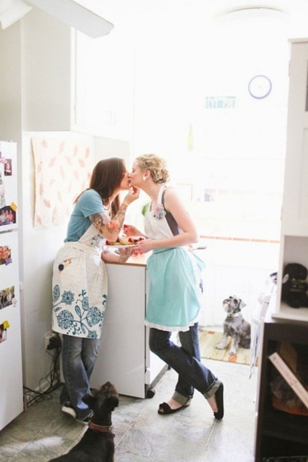kitchen engagement photos