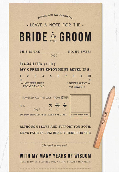 leave a note for the bride and groom