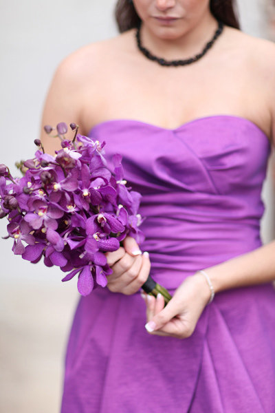 purple bridesmaids dress bright orchid