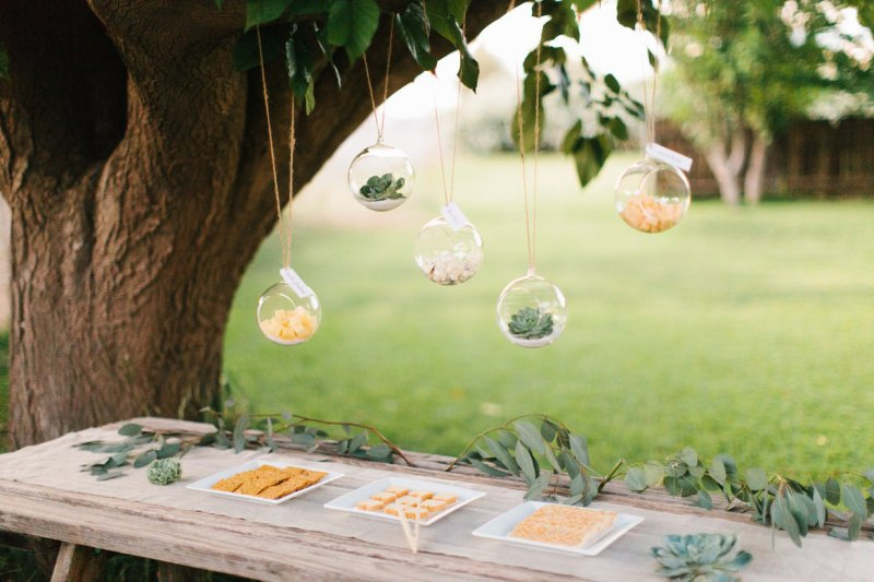 hanging terrariums food display