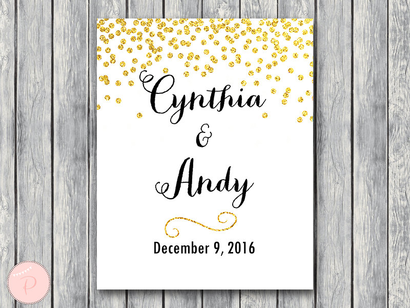 image relating to Wedding Sign Printable known as Customized Gold Wedding day Indicator Bridal Shower Indicator Printable WD47