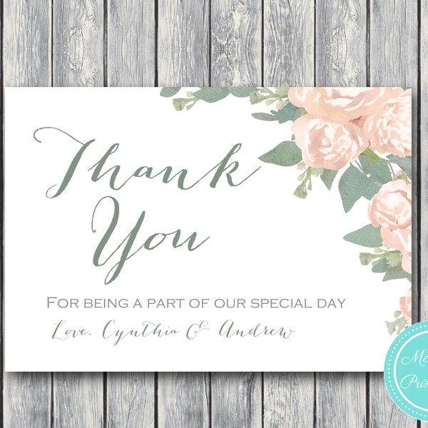 floral wedding thank you cards bridal shower favor - Engagement Thank You Cards