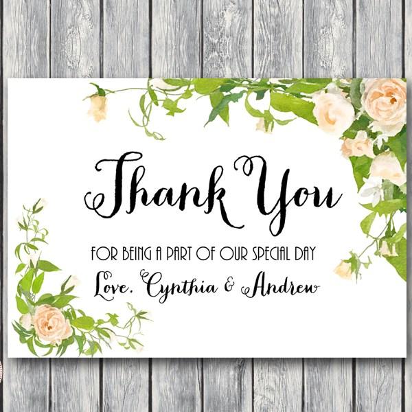 Wedding Thank You Cards.Custom Peonies Wedding Thank You Cards