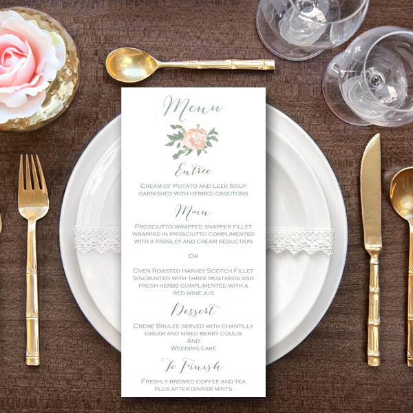peonies elegant wedding menu bridal shower