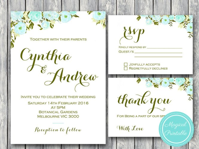 Custom Blue Flower Wedding Invitation Set Rsvp Thanks Card