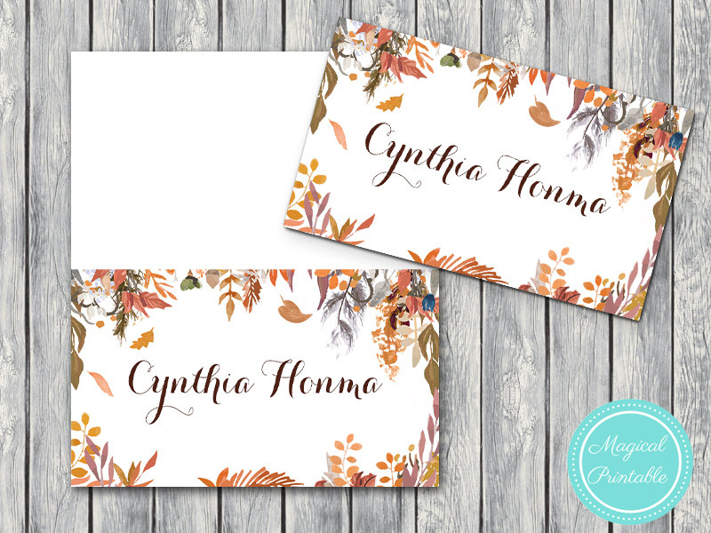 image relating to Name Labels Printable identified as Personalized Slide Autumn Wedding ceremony Engagement Track record Label Playing cards