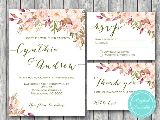 Custom Pink Fl Wedding Invitation Rsvp Thanks Card