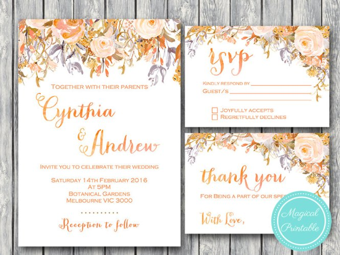 Custom Sunset Fl Wedding Invitation Rsvp Thanks Card