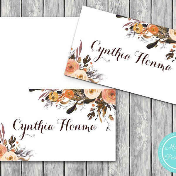 Wedding Name Cards.Custom Vintage Fall Name Label Cards Tent Style