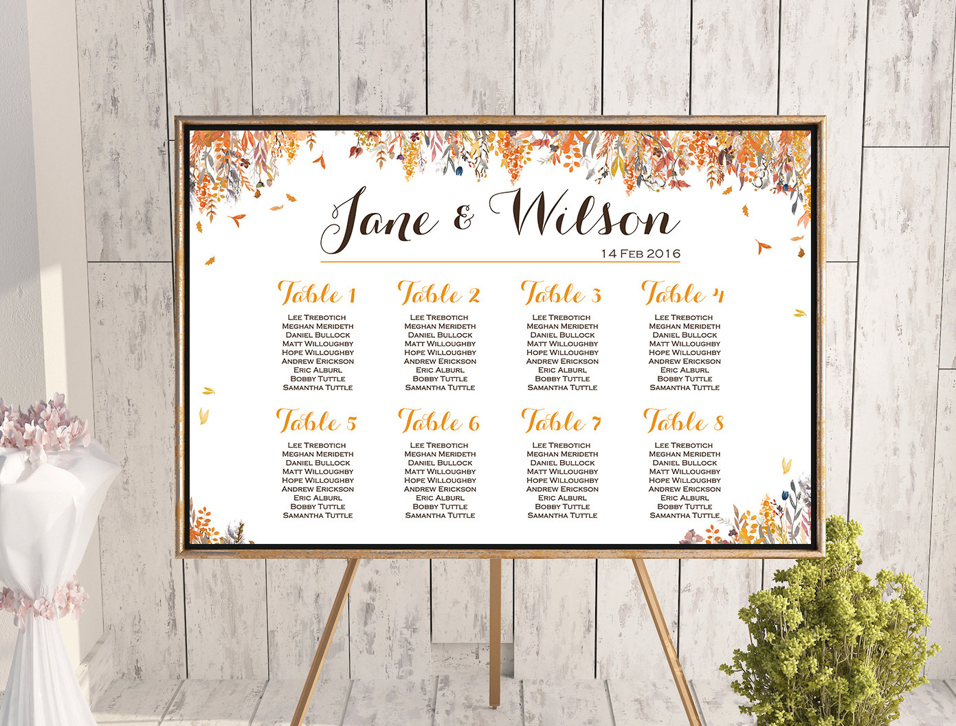 image about Free Printable Wedding Seating Chart known as Customized Drop Autumn Wedding ceremony Seating Chart wc93