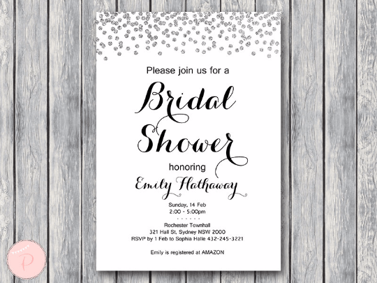 Personalized Wedding Invitations.Custom Silver Engaged Bridal Shower Invitation Th63