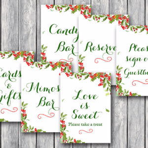 christmas themed wedding table signs
