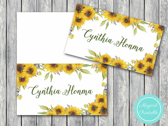 photo relating to Name Tags Printable known as Customized Summer months Sunflower Marriage ceremony Tent Standing Label Playing cards TH80