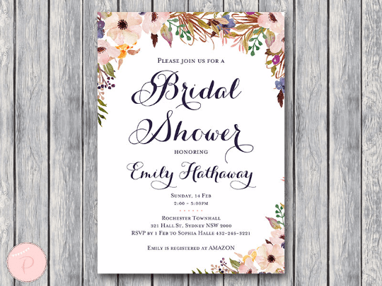 Personalized Wedding Invitations.Custom Purple Buttercup Wedding Invitations Bridal Shower Invite Th35
