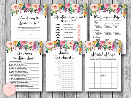 438068bc604b Shabby Chic Floral Wedding Shower Games and Signs
