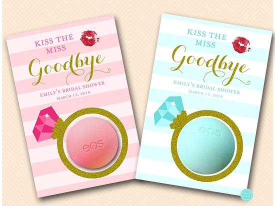 image regarding Kiss the Miss Goodbye Printable identified as Personalized eos Bachelorette Lip Balm Choose BS602