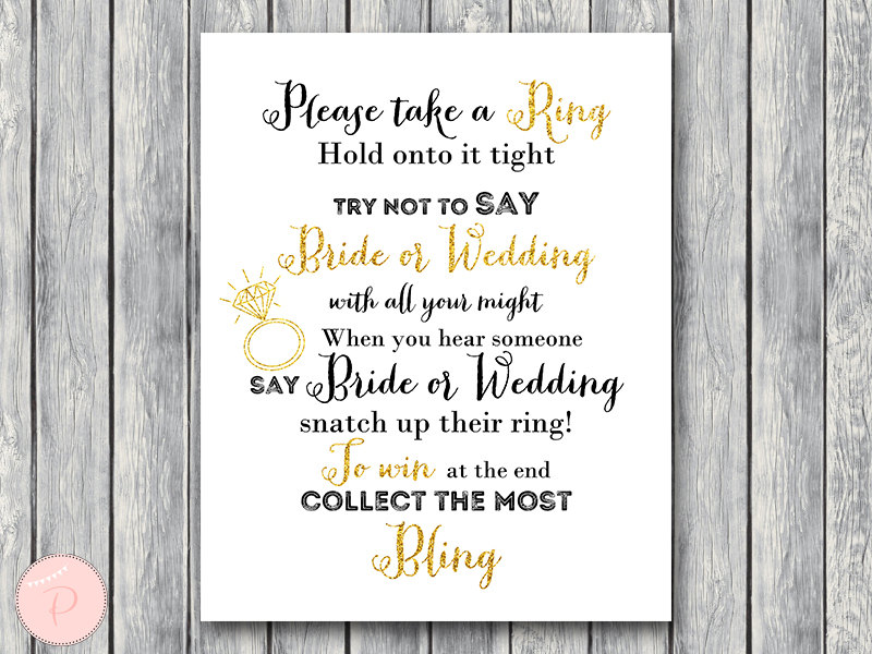 photo about Bridal Shower Games Printable titled Obtain Gold Glitter Dont Say Bride or Wedding day