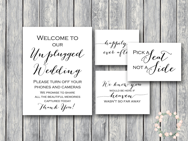 photo about Printable Wedding Signs identify Down load Marriage Indicators, Unplugged Rite Indication
