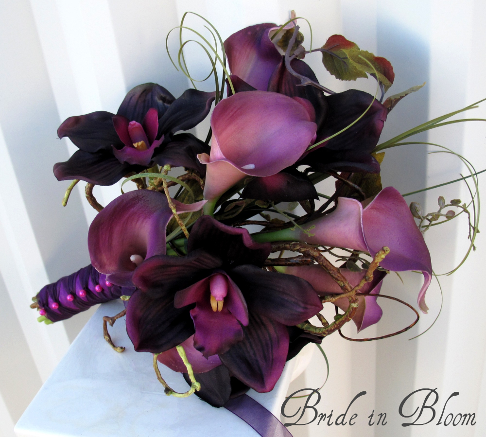 Plum Orchid Calla Lily Wedding Bouquet Bride In Bloom
