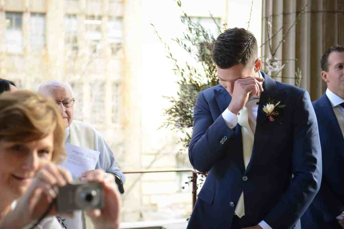 Emily Simms Melbourne Wedding Tears