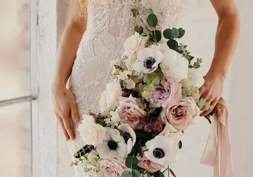 Winter Bouquet with White Anemones, Roses, and Ranunculus