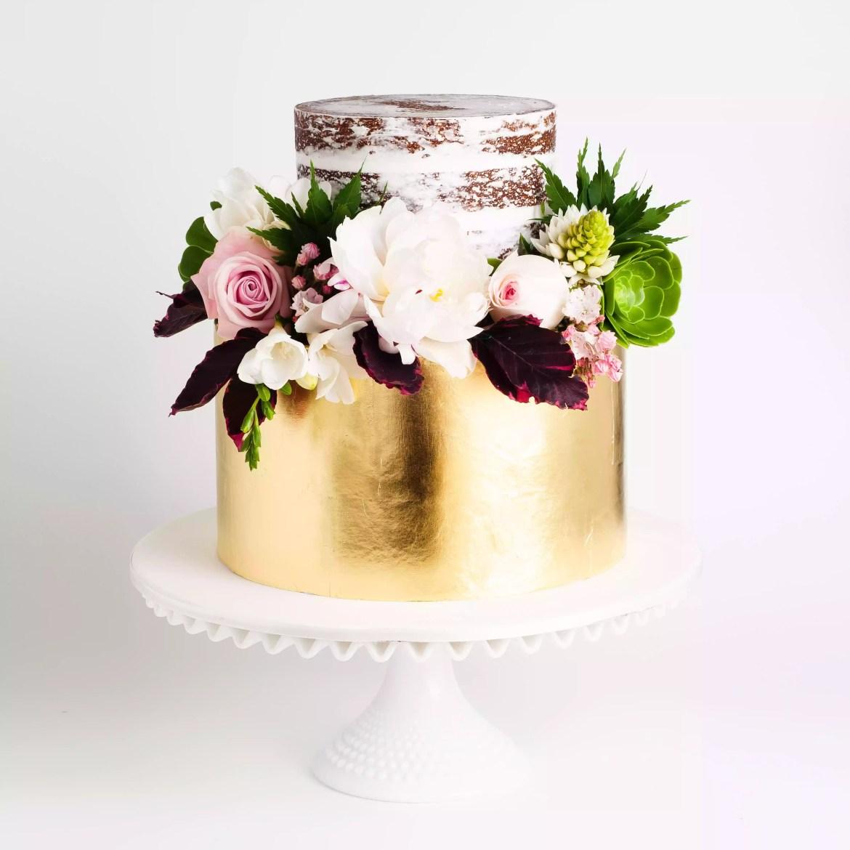 Gilded naked cake