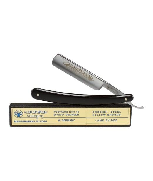 "Polished black cellidor handle straight razor. Half hollow, carbon steel, 5/8"". Special $141.59 (Regular $184.84)"
