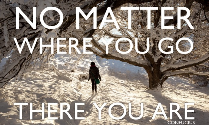 No Matter where you go, there you are, inspiring travel quote