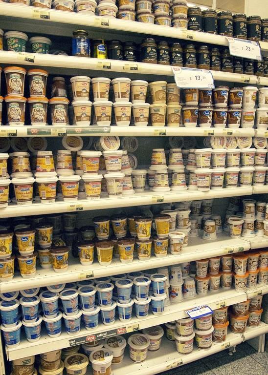 Dulce de leche aisle in the supermercado, Argentina