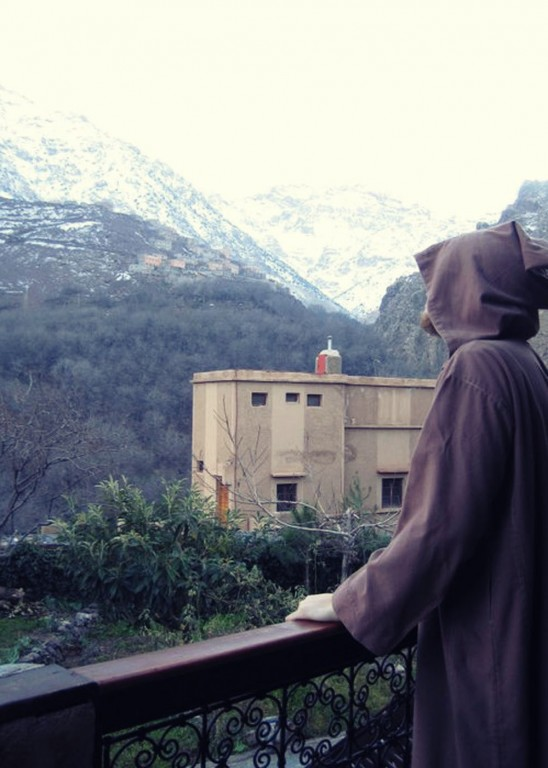 Steve wearing Jedi robes at Kasbah Toubkal