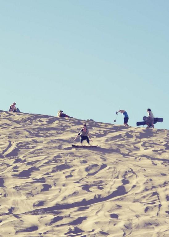 Victoria sandboarding in San Pedro de Atacama