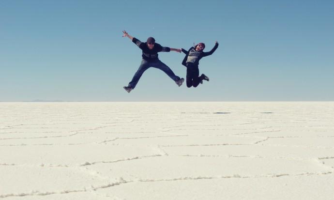 Flying at the Salt Flats, Bolivia