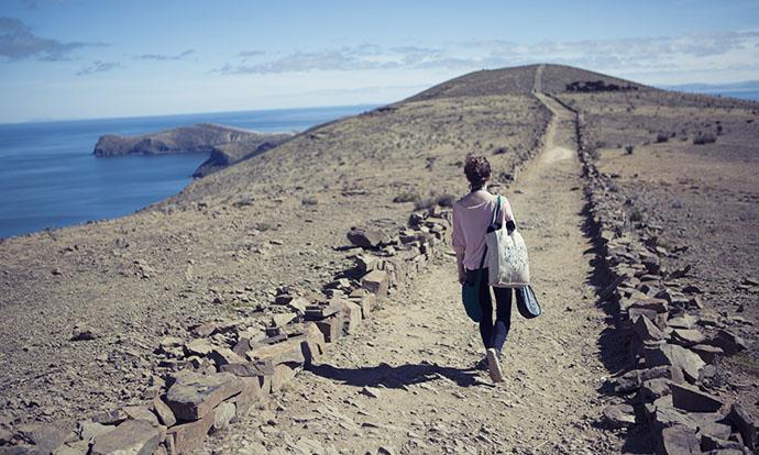 Victoria walking on Isla del Sol