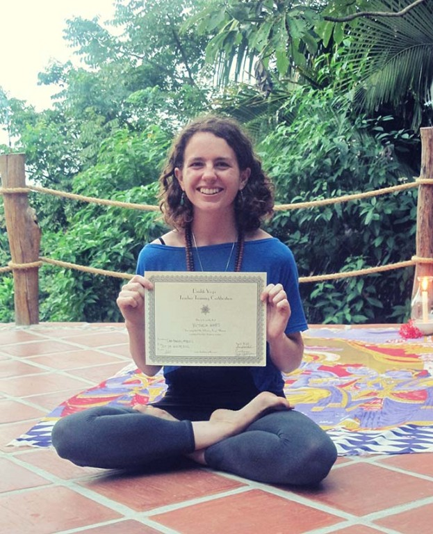 Victoria and her Drishti Yoga Teacher Training Certificate