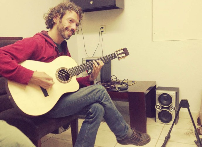 Jess and his new guitar in Paracho