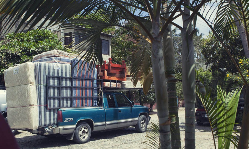 Mattress seller van in San Pancho, Mexico