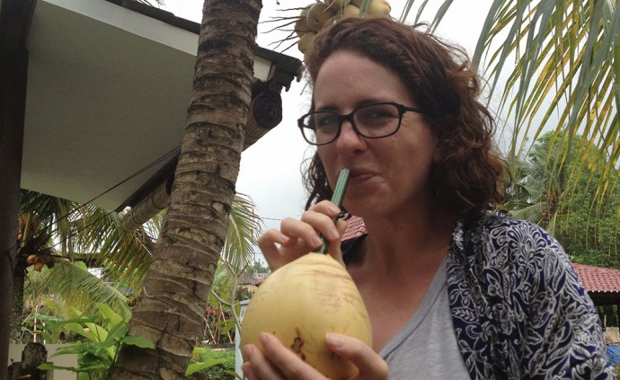 Drinking a coconut