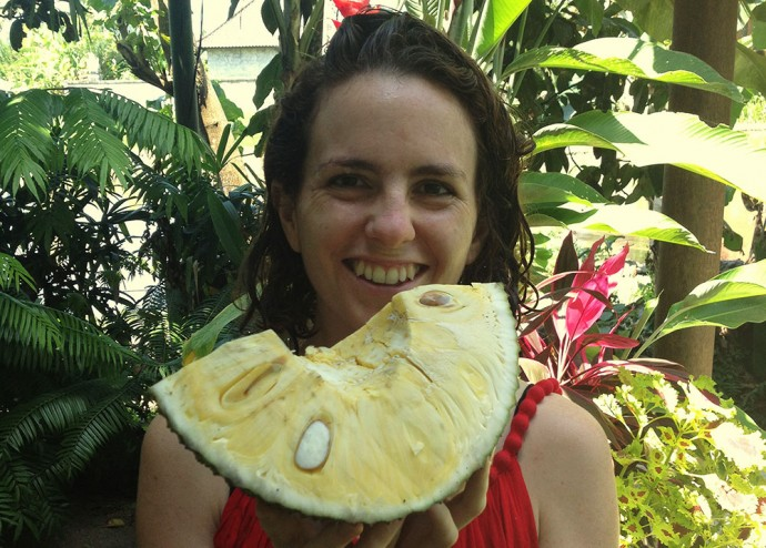 Victoria and a jack fruit