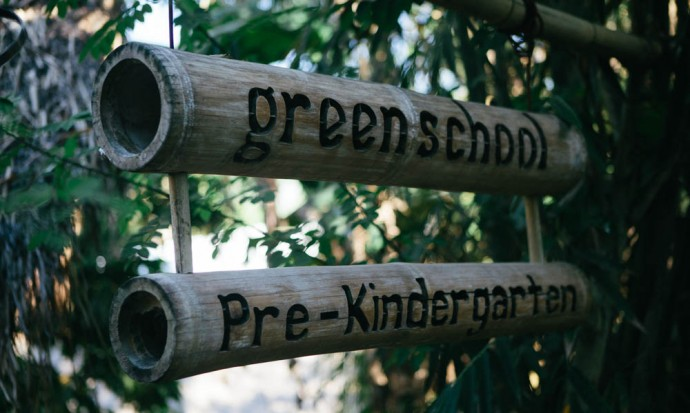 Green school pre-kindergarten sign
