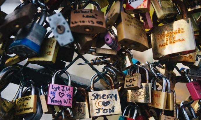 Locks on love lock bridge paris
